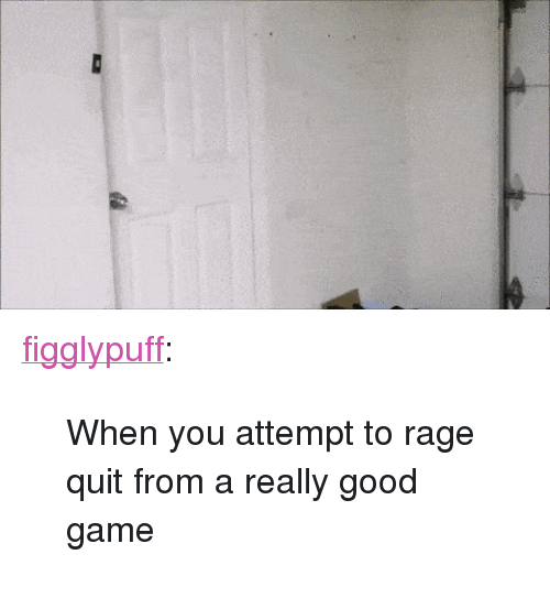"""Rage quit: <p><a href=""""http://figglypuff.tumblr.com/post/137110962159/when-you-attempt-to-rage-quit-from-a-really-good"""" class=""""tumblr_blog"""">figglypuff</a>:</p>  <blockquote><p>When you attempt to rage quit from a really good game  <br/></p></blockquote>"""