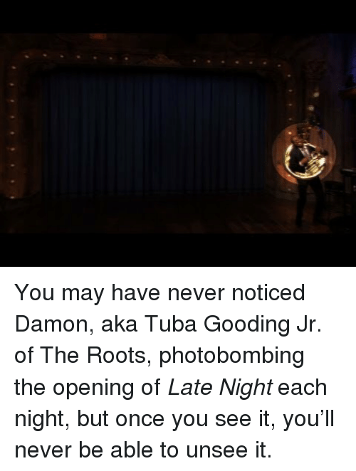 Once You See It: <p>You may have never noticed Damon, aka Tuba Gooding Jr. of The Roots, photobombing the opening of <em>Late Night</em> each night, but once you see it, you&rsquo;ll never be able to unsee it.</p>