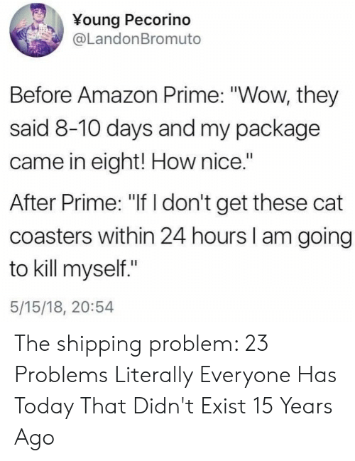 "Amazon Prime: ¥oung Pecorino  @LandonBromuto  Before Amazon Prime: ""Wow, they  said 8-10 days and my package  came in eight! How nice.""  After Prime: ""If don't get these cat  coasters within 24 hours I am going  to kill myself.""  5/15/18, 20:54 The shipping problem: 23 Problems Literally Everyone Has Today That Didn't Exist 15 Years Ago"