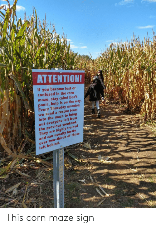 panic: ΑΤΤEΝTIΟΝ!  If you become lost or  confused in the corn  maze,stay calm! Don't  panic,help is on the way.  Every Thursday morning  we send a rescue team  into the maze to bring  out everyone left from  the previous weekend.  They are  and can usually locate  highly trained  over two-thirds of those  left behind. This corn maze sign
