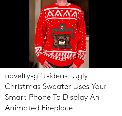 Uses: ΛΛΛΑ  Ε novelty-gift-ideas:  Ugly Christmas Sweater Uses Your Smart Phone To Display An Animated Fireplace