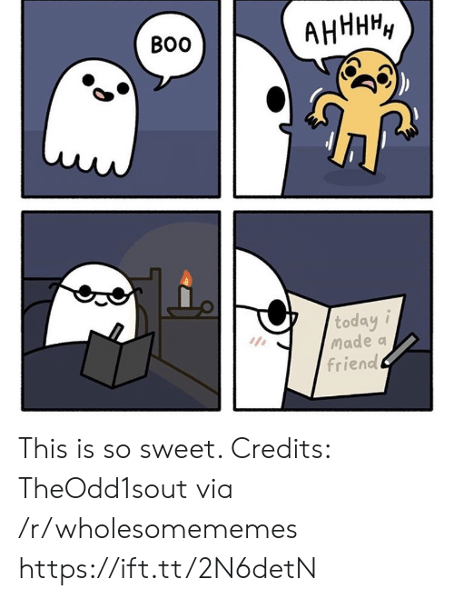 Credits: АНННН,  Во  today i  Made a  friend This is so sweet. Credits: TheOdd1sout via /r/wholesomememes https://ift.tt/2N6detN