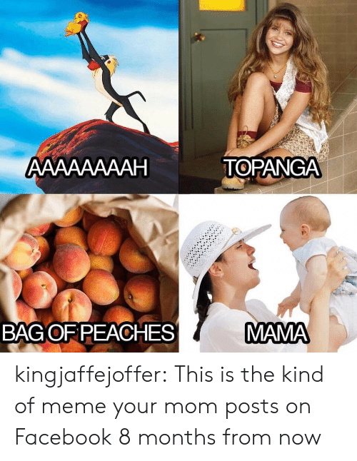 peaches: АAААААААН  TOPANGA  MAMA  BAGOF PEACHES kingjaffejoffer: This is the kind of meme your mom posts on Facebook 8 months from now