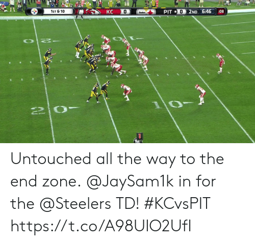 all the way: КС  1ST & 10  0  PIT 0  2ND 6:46  :08  Steelers  OT  1 Untouched all the way to the end zone.  @JaySam1k in for the @Steelers TD! #KCvsPIT https://t.co/A98UIO2UfI
