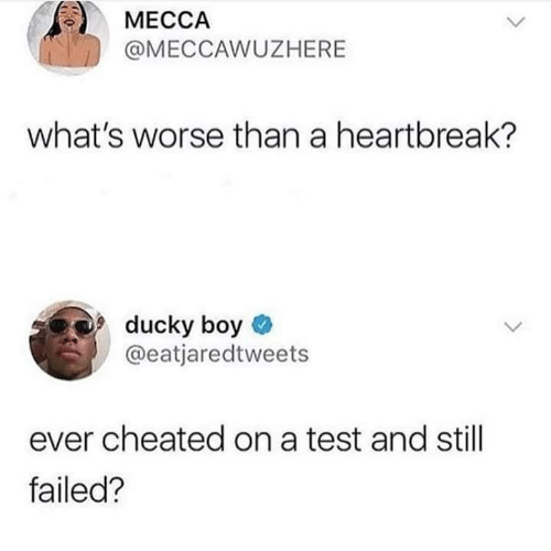 Cheated On: МЕССА  @MECCAWUZHERE  what's worse than a heartbreak?  ducky boy  @eatjaredtweets  ever cheated on a test and still  failed?