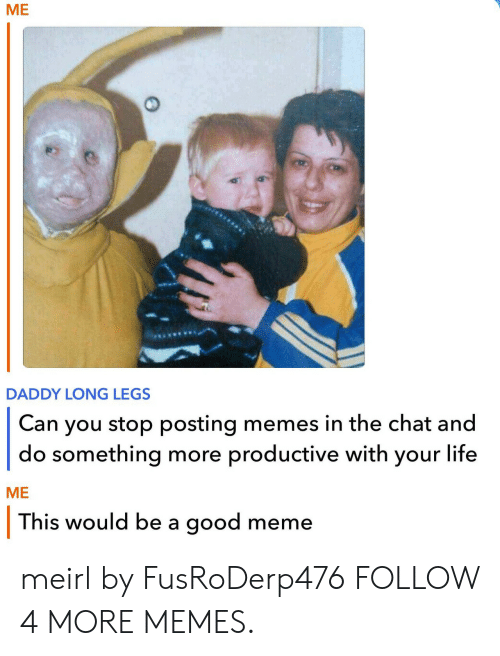 Dank, Life, and Meme: МE  DADDY LONG LEGS  you stop posting memes in the chat and  do something more productive with your life  Can  МЕ  This would be a good meme meirl by FusRoDerp476 FOLLOW 4 MORE MEMES.