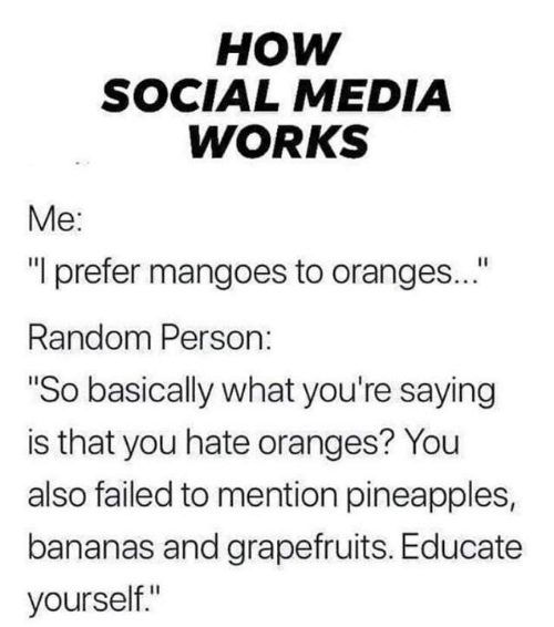 "pineapples: нOW  SOCIAL MEDIA  WORKS  Me:  ""I prefer mangoes to oranges...""  Random Person:  ""So basically what you're saying  is that you hate oranges? You  also failed to mention pineapples,  bananas and grapefruits. Educate  yourself."""