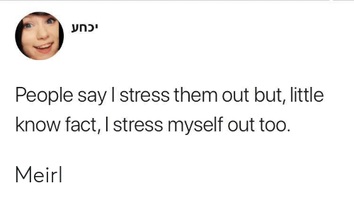 MeIRL, Stress, and Them: יכחע  People say I stress them out but, little  know fact, I stress myself out too. Meirl