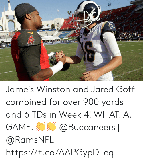jameis winston: का Jameis Winston and Jared Goff combined for over 900 yards and 6 TDs in Week 4!   WHAT. A. GAME. ??  @Buccaneers | @RamsNFL https://t.co/AAPGypDEeq