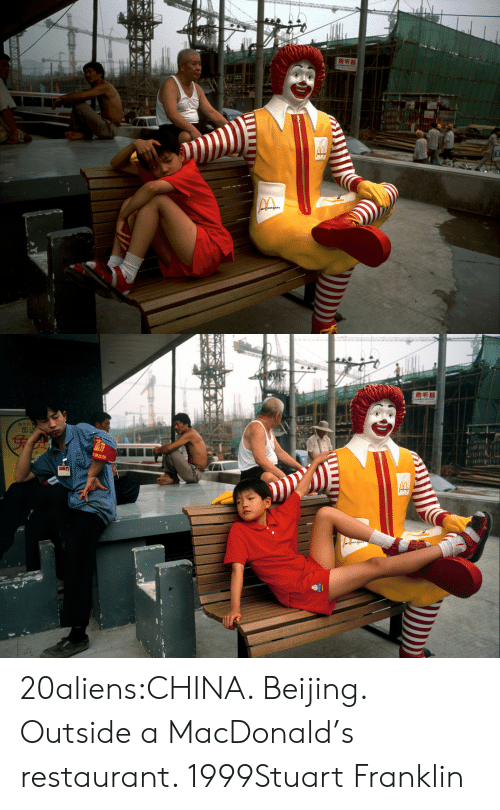Beijing, Tumblr, and China: மசக  வரி   助听器  genglu 20aliens:CHINA. Beijing. Outside a MacDonald's restaurant. 1999Stuart Franklin