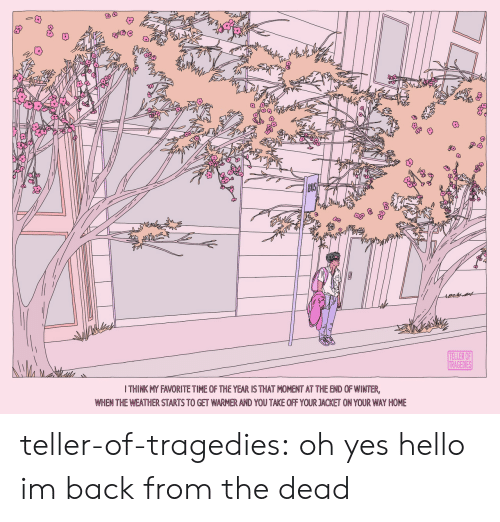 Hello, Tumblr, and Winter: ఇడిి  TELLER OF  TRAGEDIES  I THINK MY FAVORITE TIME OF THE YEAR IS THAT MOMENT AT THE END OF WINTER,  WHEN THE WEATHER STARTS TO GET WARMER AND YOU TAKE OFF YOUR JACKET ON YOUR WAY HOME teller-of-tragedies:  oh yes hello im back from the dead