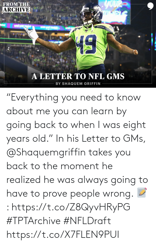 """need-to-know: """"Everything you need to know about me you can learn by going back to when I was eight years old.""""  In his Letter to GMs, @Shaquemgriffin takes you back to the moment he realized he was always going to have to prove people wrong.   📝: https://t.co/Z8QyvHRyPG #TPTArchive #NFLDraft https://t.co/X7FLEN9PUI"""