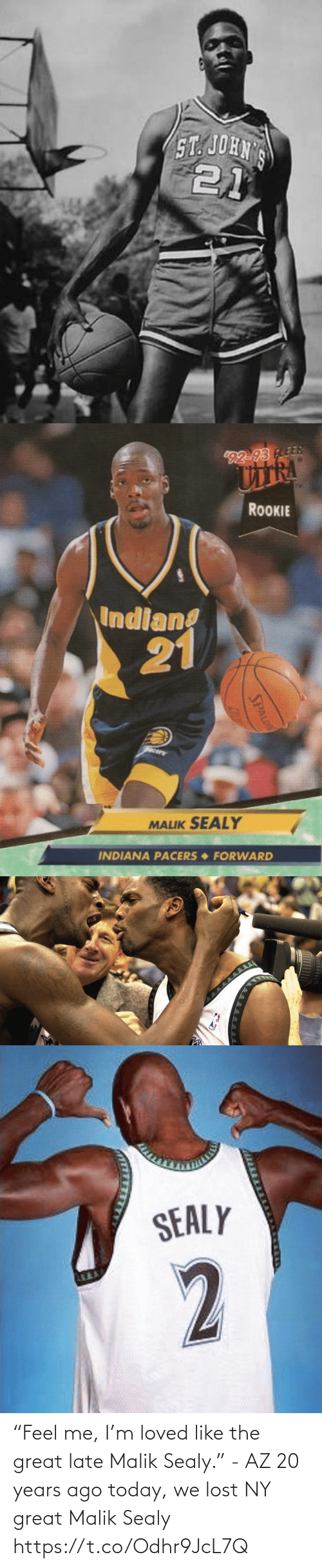"""late: """"Feel me, I'm loved like the great late Malik Sealy."""" - AZ  20 years ago today, we lost NY great Malik Sealy https://t.co/Odhr9JcL7Q"""