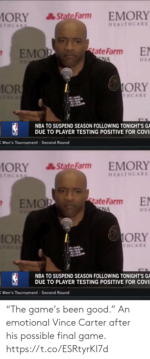"""vince carter: """"The game's been good.""""   An emotional Vince Carter after his possible final game. https://t.co/ESRtyrKI7d"""