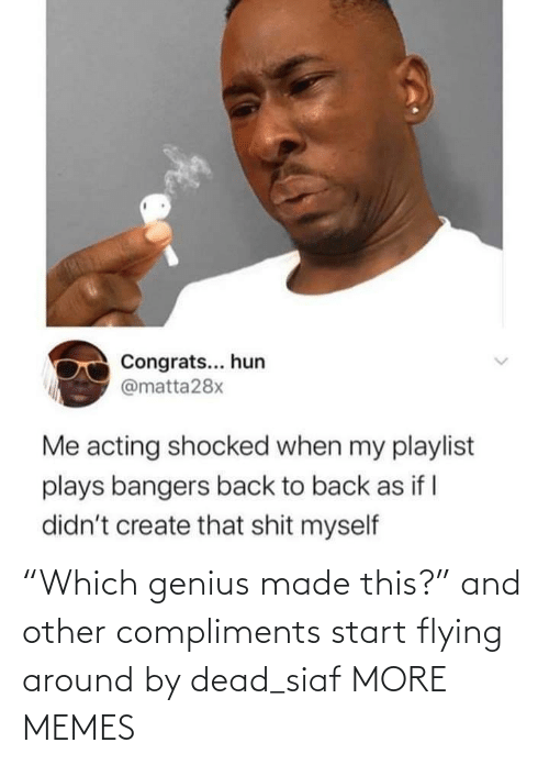 "Compliments: ""Which genius made this?"" and other compliments start flying around by dead_siaf MORE MEMES"
