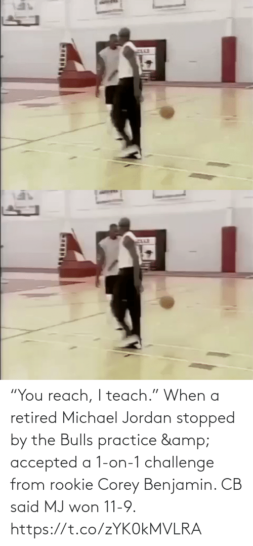 "Michael: ""You reach, I teach.""  When a retired Michael Jordan stopped by the Bulls practice & accepted a 1-on-1 challenge from rookie Corey Benjamin. CB said MJ won 11-9.   https://t.co/zYK0kMVLRA"