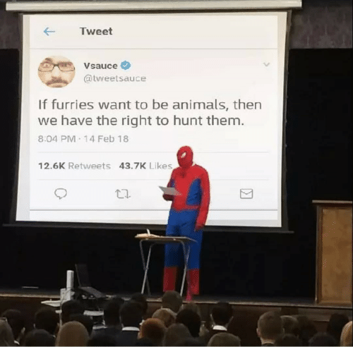 furries: ← Tweet  ,Vsauce  @tweetsauce  If furries want to be animals, then  we have the right to hunt them.  8.04 PM 14 Feb 18  12.6K Retweets 43.7K Likes  団  乜.