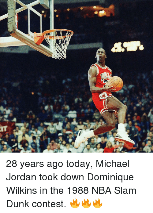 Wilkins: 拳奈  睾. 28 years ago today, Michael Jordan took down Dominique Wilkins in the 1988 NBA Slam Dunk contest. 🔥🔥🔥