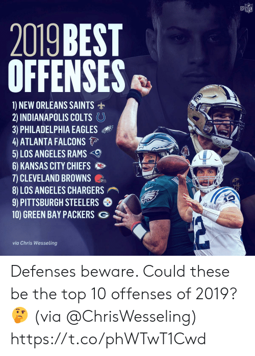 New Orleans Saints: @竈  NF  2019 BEST  OFFENSES  1) NEW ORLEANS SAINTS  2) INDIANAPOLIS COLTS。  3) PHILADELPHIA EAGLES  4 ATLANTA FALCONS  5) LOS ANGELES RAMS  6) KANSAS CITY CHIEFS  7) CLEVELAND BROWNS  8) LOS ANGELES CHARGERS  9) PITTSBURGH STEELERS  10) GREEN BAY PACKERS G  via Chris Wesseling Defenses beware. Could these be the top 10 offenses of 2019? 🤔 (via @ChrisWesseling) https://t.co/phWTwT1Cwd