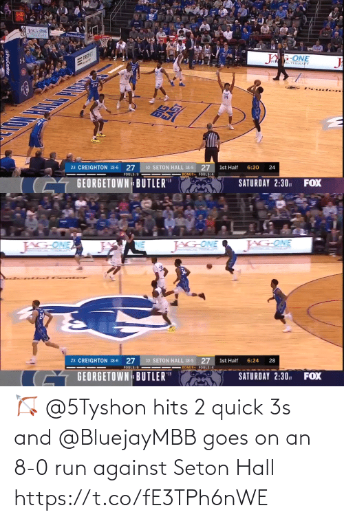 8 0: 🏹 @5Tyshon hits 2 quick 3s and @BluejayMBB goes on an 8-0 run against Seton Hall https://t.co/fE3TPh6nWE