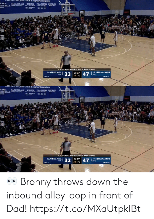 Throws: 👀 Bronny throws down the inbound alley-oop in front of Dad!  https://t.co/MXaUtpkIBt