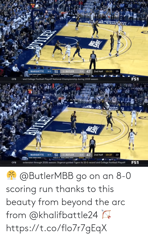 8 0: 😤 @ButlerMBB go on an 8-0 scoring run thanks to this beauty from beyond the arc from @khalifbattle24 🏹 https://t.co/flo7r7gEqX