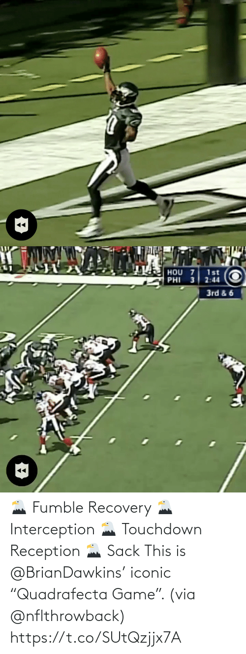 "touchdown: 🦅 Fumble Recovery 🦅 Interception 🦅 Touchdown Reception 🦅 Sack  This is @BrianDawkins' iconic ""Quadrafecta Game"". (via @nflthrowback) https://t.co/SUtQzjjx7A"