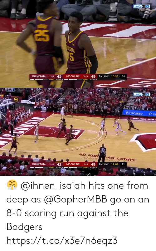 8 0: 😤 @ihnen_isaiah hits one from deep as @GopherMBB go on an 8-0 scoring run against the Badgers https://t.co/x3e7n6eqz3