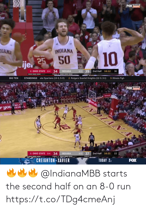 8 0: 🔥🔥🔥 @IndianaMBB starts the second half on an 8-0 run https://t.co/TDg4cmeAnj