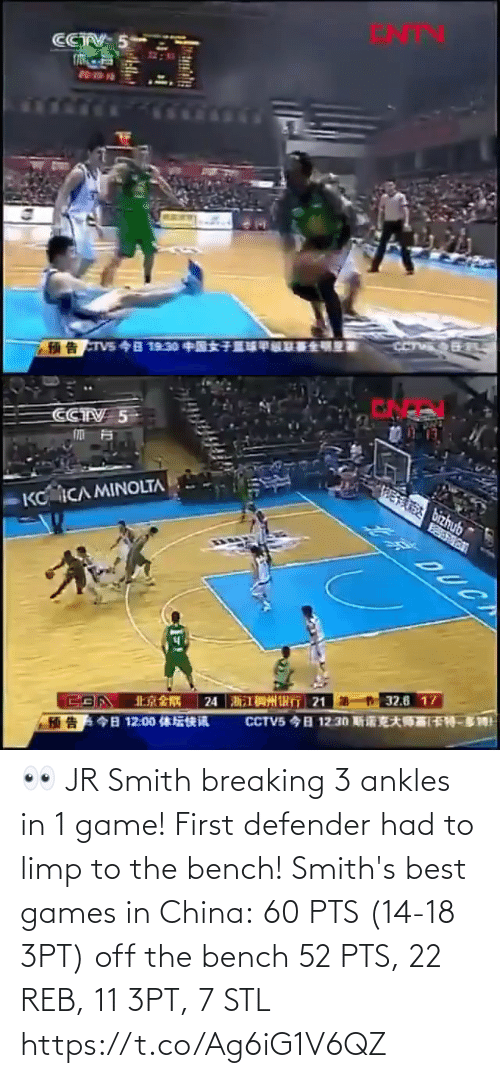 breaking: 👀 JR Smith breaking 3 ankles in 1 game! First defender had to limp to the bench!   Smith's best games in China: 60 PTS (14-18 3PT) off the bench 52 PTS, 22 REB, 11 3PT, 7 STL https://t.co/Ag6iG1V6QZ
