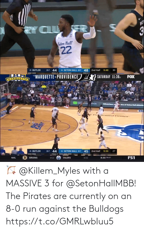 8 0: 🏹 @Killem_Myles with a MASSIVE 3 for @SetonHallMBB!  The Pirates are currently on an 8-0 run against the Bulldogs https://t.co/GMRLwbIuu5
