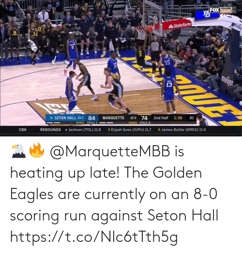 8 0: 🦅🔥 @MarquetteMBB is heating up late!  The Golden Eagles are currently on an 8-0 scoring run against Seton Hall https://t.co/NIc6tTth5g