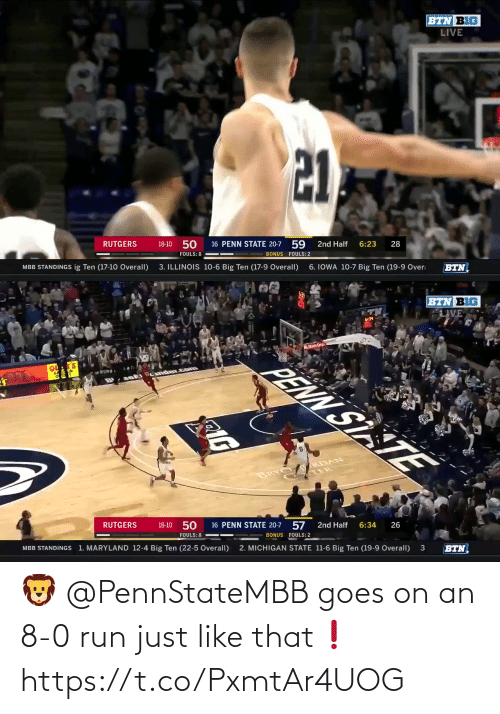 8 0: 🦁 @PennStateMBB goes on an 8-0 run just like that❗️ https://t.co/PxmtAr4UOG