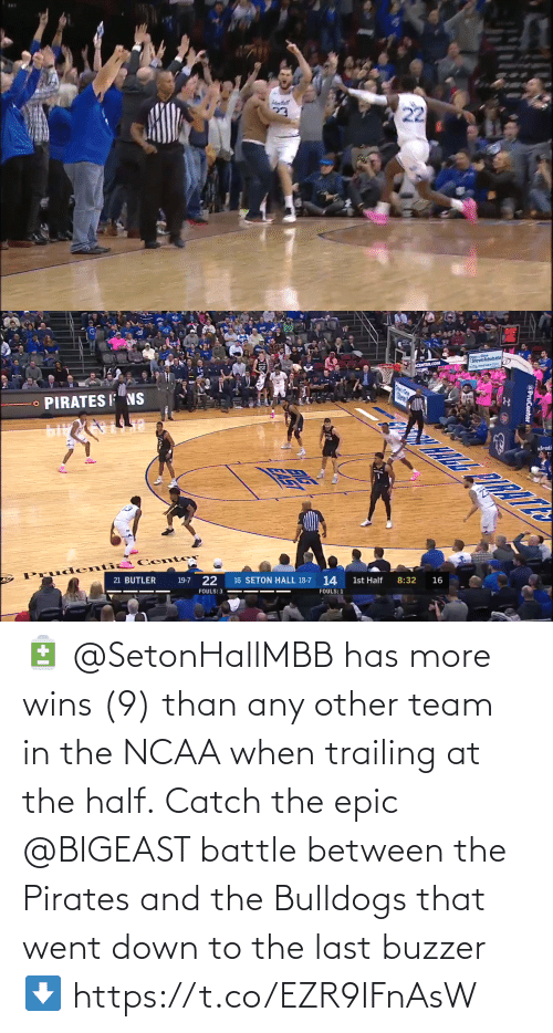 Trailing: 🔋 @SetonHallMBB has more wins (9) than any other team in the NCAA when trailing at the half.  Catch the epic @BIGEAST battle between the Pirates and the Bulldogs that went down to the last buzzer ⬇️ https://t.co/EZR9IFnAsW
