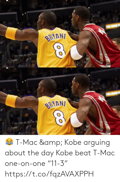 "beat: 😂 T-Mac & Kobe arguing about the day Kobe beat T-Mac one-on-one ""11-3""   https://t.co/fqzAVAXPPH"