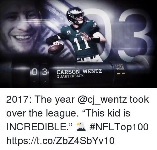 "Memes, The League, and 🤖: 0 3 CARSON WENTZ  LAST  YEAR  QUARTERBACK 2017: The year @cj_wentz took over the league.  ""This kid is INCREDIBLE."" 🦅 #NFLTop100 https://t.co/ZbZ4SbYv10"