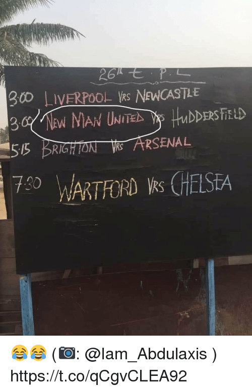 newcastle: 0 LIVERPOOL kS NEWCASTLE  55 BRIGHTON ARSENAL  730  7RTFORD s CHESEA 😂😂 (📷: @Iam_Abdulaxis ) https://t.co/qCgvCLEA92