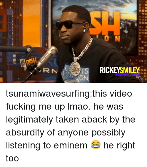 Eminem, Fucking, and Lmao: 0 N  RICKEYSMILEY tsunamiwavesurfing:this video fucking me up lmao. he was legitimately taken aback by the absurdity of anyone possibly listening to eminem😂 he right too