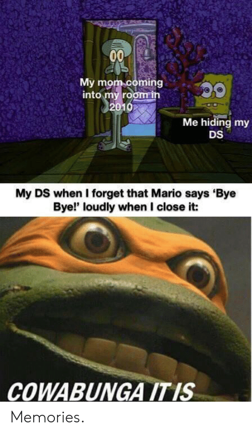 Mario, Mom, and Memories: 00  My mom coming  into my room in  2010  Me hiding my  DS  My DS when I forget that Mario says 'Bye  Bye!' loudly when I close it:  COWABUNGA IT IS Memories.