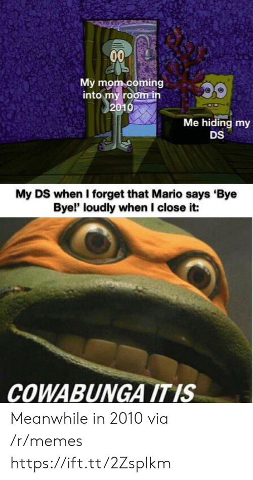 Memes, Mario, and Mom: 00  My mom coming  into my room in  2010  Me hiding my  DS  My DS when I forget that Mario says Bye  Bye!' loudly when I close it:  COWABUNGA ITIS Meanwhile in 2010 via /r/memes https://ift.tt/2ZspIkm