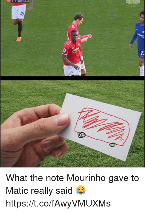 Soccer, Mourinho, and Note: 009 What the note Mourinho gave to Matic really said 😂 https://t.co/fAwyVMUXMs