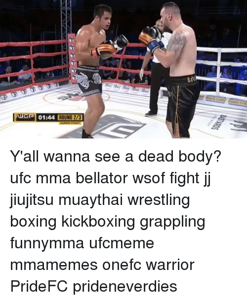 Boxing, Memes, and Ufc: 01:44 ROUND 273 Y'all wanna see a dead body? ufc mma bellator wsof fight jj jiujitsu muaythai wrestling boxing kickboxing grappling funnymma ufcmeme mmamemes onefc warrior PrideFC prideneverdies