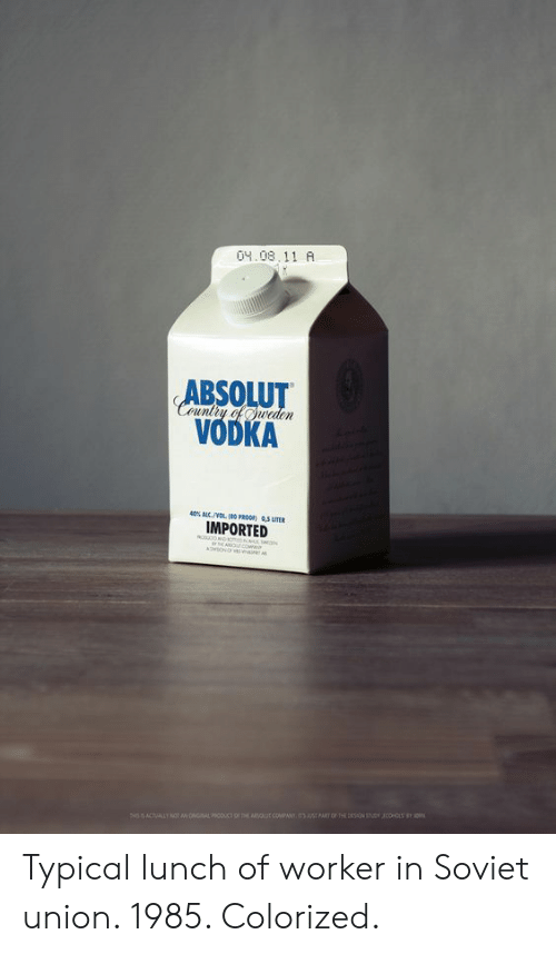 absolut: 04.08. 11 A  ABSOLUT  VODKA  40% ALC./VOL 180 PROOF)  IMPORTED Typical lunch of worker in Soviet union. 1985. Colorized.