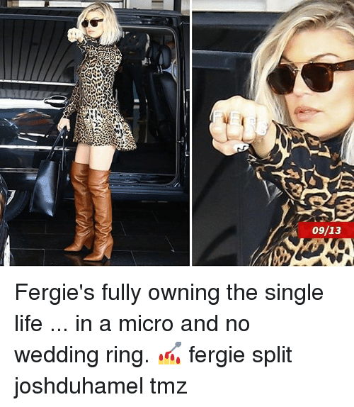 Life, Memes, and Fergie: 09/13 Fergie's fully owning the single life ... in a micro and no wedding ring. 💅 fergie split joshduhamel tmz