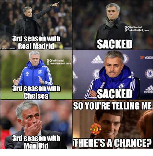 Chelsea, Memes, and Real Madrid: 0OTrollFootball  @TheTrollFootball_Insta  3rd season with  Real Madrid  SACKED  AFP GETTY IMAGES  fTrollFootball  @ TheTrollFootball Insta  3ri season withiSACKED  adid  Chelsea  SO YOU'RE TELLING ME  CHES  3d seas on withTHERE'S ACHANCE?  Man Utd  auiekmeme.com