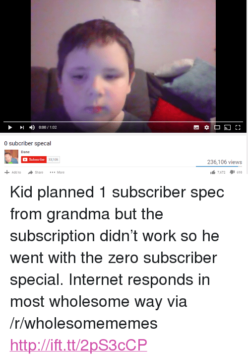 "Grandma, Internet, and Zero: 1  )  0:00 / 1:02  0 subcriber specal  Dane  Subscribe  33,105  236,106 views  Add toShare  More  7,672698 <p>Kid planned 1 subscriber spec from grandma but the subscription didn&rsquo;t work so he went with the zero subscriber special. Internet responds in most wholesome way via /r/wholesomememes <a href=""http://ift.tt/2pS3cCP"">http://ift.tt/2pS3cCP</a></p>"