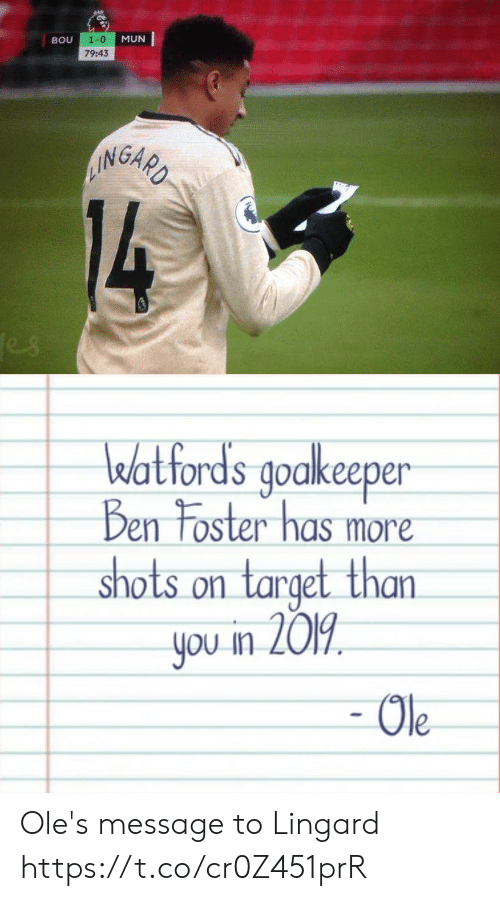 shots: 1-0  MUN  BOU  79:43  AINGARD  14  es   watfords goakeeper  Ben Foster has more  shots on target than  you in 2019  - Ole Ole's message to Lingard https://t.co/cr0Z451prR
