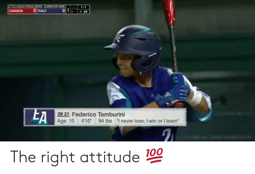 "Mlb, Canada, and Italy: 1-1  5 ITALY  CANADA  29  EA  2B 21 Federico Tamburini  Age: 10 41094 lbs ""I never lose; I win or I learn The right attitude 💯"