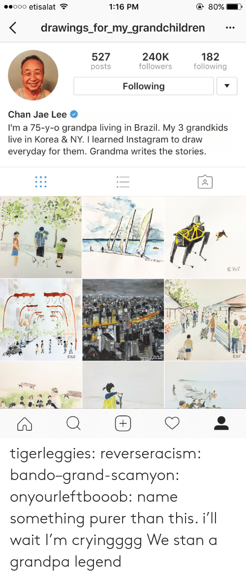 Bando, Grandma, and Instagram: 1:16 PM  drawings_for_my_grandchildren  527  posts  240K  followers  182  following  Following  Chan Jae Lee  I'm a 75-y-o grandpa living in Brazil. My 3 grandkids  live in Korea & NY. I learned Instagram to draw  everyday for them. Grandma writes the stories. tigerleggies:  reverseracism:   bando–grand-scamyon:  onyourleftbooob: name something purer than this. i'll wait I'm cryingggg     We stan a grandpa legend