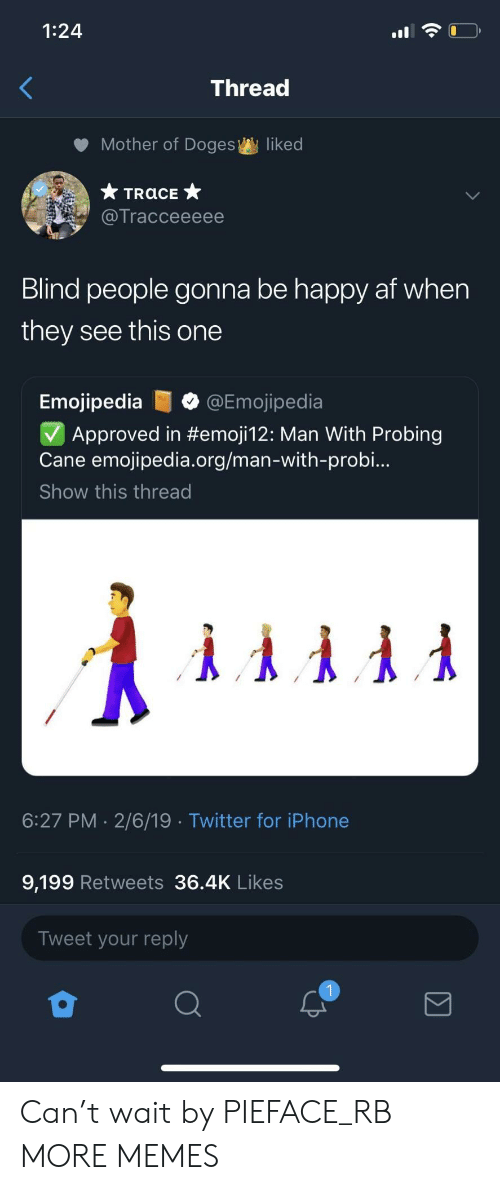 Af, Dank, and Iphone: 1:24  Thread  Mother of Doges  liked  Tracceeeee  Blind people gonna be happy af when  they see this one  Emojipedia@Emojipedia  Approved in #emoji12: Man With Probing  Cane emojipedia.org/man-with-probi..  Show this thread  6:27 PM 2/6/19 Twitter for iPhone  9,199 Retweets 36.4K Likes  Tweet your reply Can't wait by PIEFACE_RB MORE MEMES